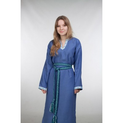 Женское платье под заказ, васильковый лен