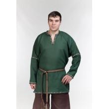 Рубаха мужская. темно-зеленый лен, коричневый лен, тесьма
