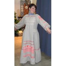 платье из небелёного льна, отделка из рушника