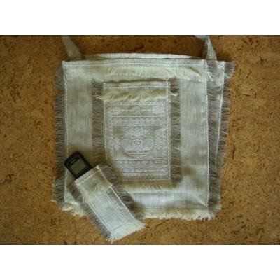 Льняная калоритная сумочка в комплекте с очельем и чехлом для мобильного телефона