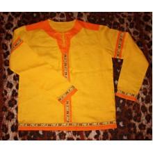 Рубаха мужская народная из льна Жёлтая