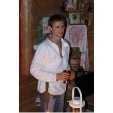 Рубаха мужская народная белая ткань, изделие на заказ