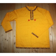 Рубаха мужская народная жёлтая ткань, изделие на заказ