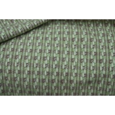 318. Зелено-розовый в белый пунктир. Пальтовая шерстяная ткань.