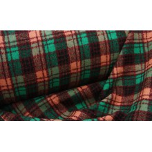 2с33 Шотландка. Бордово-розово-зеленая клетка. Пальтовая шерстяная ткань.