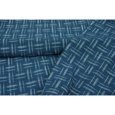 154. Синий в белый штрих-крестик. Пальтовая шерстяная ткань.