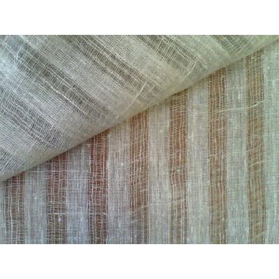 09с9 Небеленая сетка в полоску. Декоративная ткань. 1,5 м ширина.