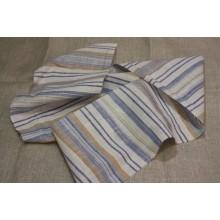 14БЛ-6 (9-10) Белый лён с сине-коричневыми-оранжевыми полосками
