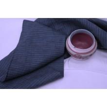 8КС-5 (5-15) Темно-синий лён в голубую полоску. Костюмная ткань.