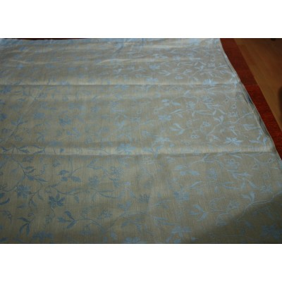23-7 Серо-голубой лён с голубыми цветочками. Скатертная ткань.