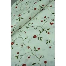 15-18 белый лён с цветками лианами. Бельевая ткань.