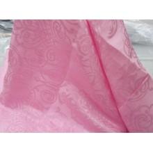 """3-19 Розовый лён """"Вензеля"""" с вискозой 1,5 м шириной. Постельная ткань"""