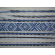 3-23 Белый лён с синим орнаментом. Скатертная ткань. 1,5 м. 230 плотность
