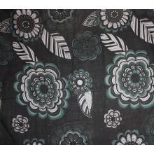 24-3 Черный лён с цветочками