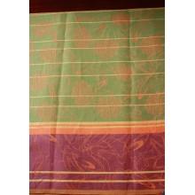 9-6 Скатертная ткань. Зеленая с фиолетовой каймой