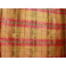 14-6 Скатертная ткань. Оранжевый лён с розовыми продольными линиями